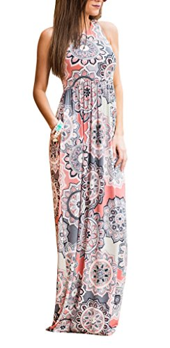 - ZZER Women's Sleeveless Floral Racerback Loose Swing Casual Tunic Beach Long Maxi Dresses with Pockets(CoralPeach,XL)