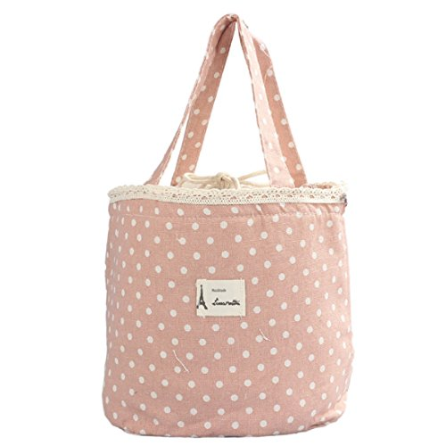 Sannysis Thermal Tote Cooler Lunch Bag Pouch Bento Mittagessen-Behälter (rosa)