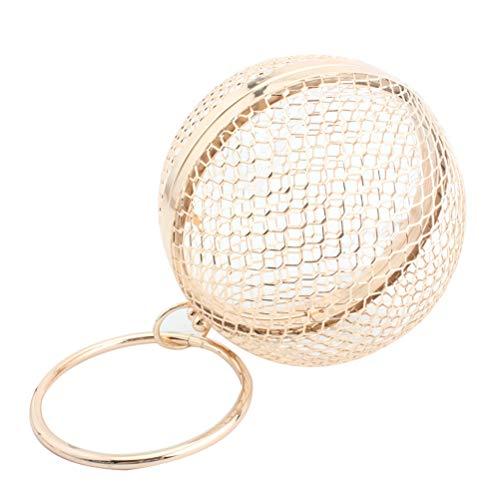 Women Round Ball Clutch Handbag Hollow Out Cage Metal Evening Bag Wedding Party Purse ()
