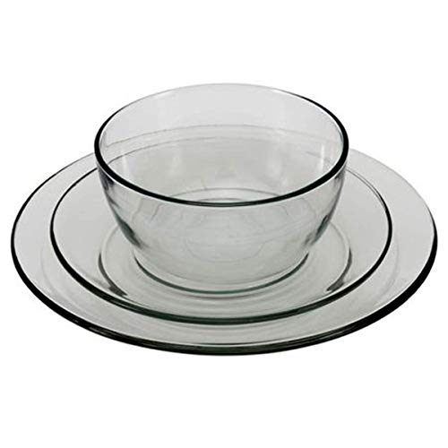 Anchor Hocking 12-Piece Presence Dinnerware Set, Clear (Plates Clear Glass Square)
