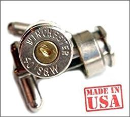 Bullet casing CUFFLINKS 40 Caliber HAND MADE Bullet Cufflinks Nickel Silver w Brass Center