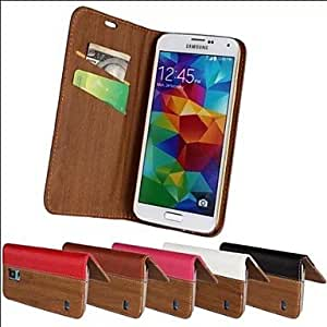 JJEWood Vein PU Leather Full Body Case with Strap and Sticker for Samsung Galaxy S5