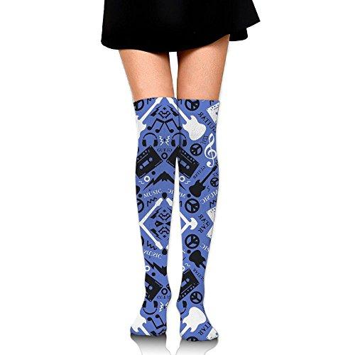 木曜日おばさん練るベース おんがく ストッキング サイハイソックス 3D デザイン 女性男性 秋と冬 フリーサイズ 美脚 かわいいデザイン 靴下 足元パイル ハイソックス メンズ レディース ブラック