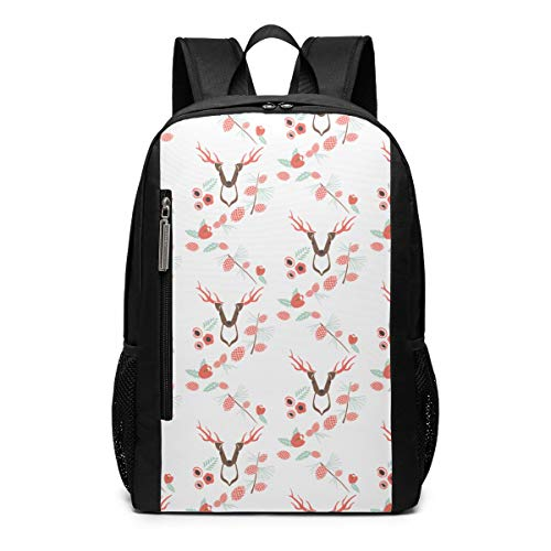 Pine Cones and Pine Deer School Travel Casual Daypack Backpack for Business College Women Men Laptop Large Computer Bag Polyester