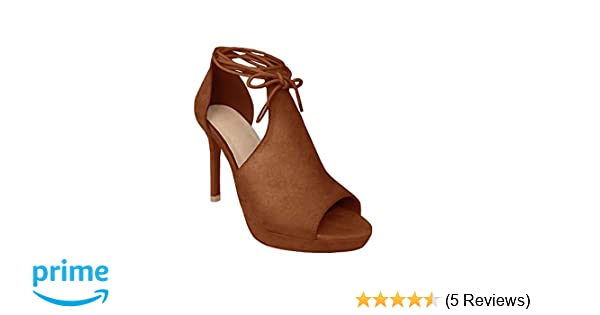 a8ce9dff72c17 Amazon.com   Runcati Womens Peep Toe Thin High Heels Pumps Suede Strappy  Ankle Wrap Plateform Stiletto Sandals   Heeled Sandals