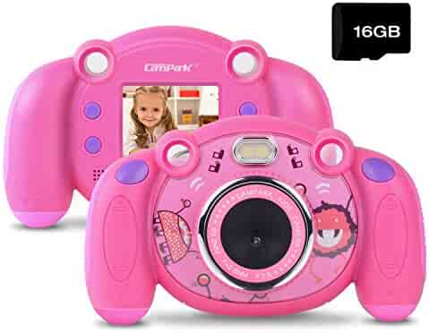 Campark Kids Camera HD Digital Children Camcorders 2 inch Screen with Mic, Non-Slip and Anti-Drop Design for Boys Girls Gifts,Pink(16GB Memory Card Included)