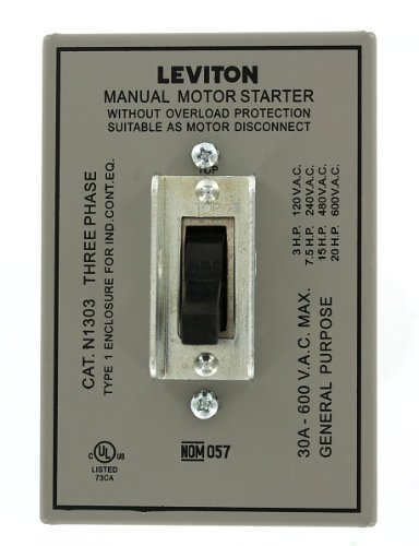 Leviton N1303-DS 30 Amp, 600 Volt, Toggle Three-Pole AC Motor Starter, Suitable as Motor Disconnect, In Type 1 Metal Enclosure, Industrial Grade, Grounded, Gray