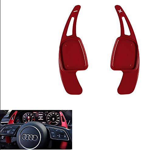 Manicar Steering Wheel Paddle Shifter Extensions For Audi, Alu-Alloy Shift Paddle Blades Compatible with Audi A3 A4 Q7 S3 2017-2019 A5 Q5 S4 S5 SQ5 2018-2019 Q8 2019 TT TTS 2016-2019 (Red)