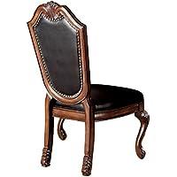 ACME Chateau de Ville Black PU Cushion Side Chair, Cherry Finish, Set of 2