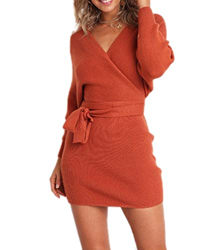 Mansy Women's Sexy Cocktail Batwing Long Sleeve Backless Mock Wrap Knit Sweater Mini Dress Orange