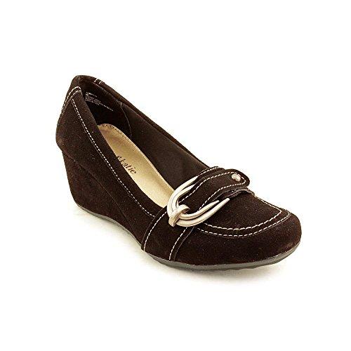 Kelly and Katie Sandro Women's Regular Suede Classic Slip On Chunky Heel Dress Shoes (9.5, Dark Brown) (Dark Brown Women Dress Shoes)