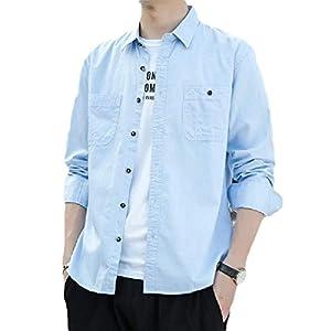 Men's Cotton Solid Faux Denim Long Sleeve Slim-Fit Business Shirts