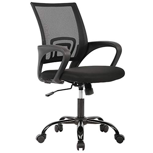 Arm Chair Office Task - BestOffice OC-H03-Black Chair Desk Ergonomic Swivel Executive Adjustable Task MidBack Computer Stool with Arm in Home-Office, 1, Black