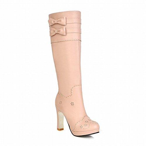 Carolbar Womens Grace Sweet Lolita Princess Cosplay Multi Bows Barbie Style High Heel Tall Dress Boots Pink
