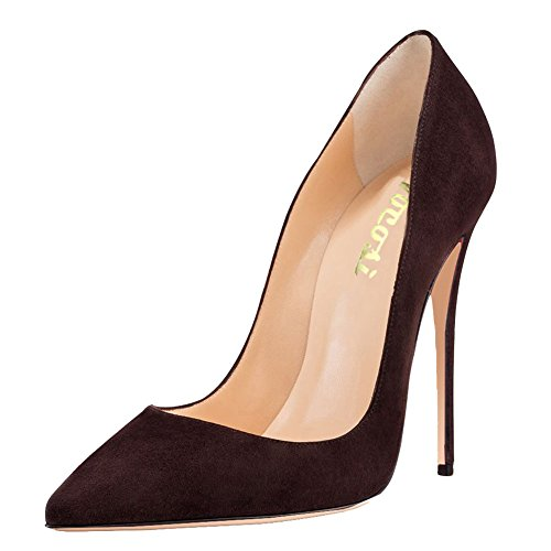 (VOCOSI Women's Thin Heels Shoes Pointy Toe Ladies Party Dress Pumps Suede-Brown 8 US)