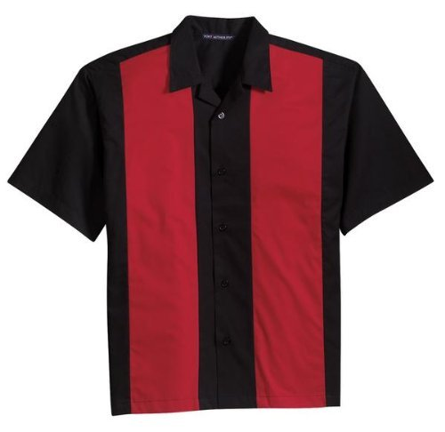 Port Authority Twill Retro Camp Shirt - Black/Red XL