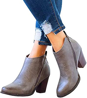 d8b6fde3568 Chellysun Womens Casual Ankle Boots Round Toe Zipper Chunky Heel ...