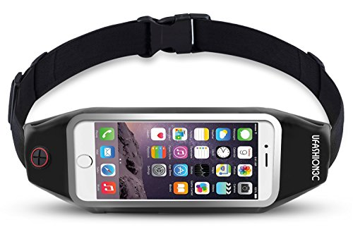 uFashion3C Running Belt Waist Pack for iPhone 7 6S 6 Plus, Samsung Galaxy S8 Plus,S7 Edge, Note 5,4,3, LG G6,G5 - Water Resistant Reflective Zipper Fanny Pack Pouch for Workout, Fitness, Women & Men