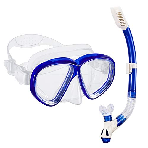 OMORC Snorkel Set, Anti-Fog Snorkel Mask with Impact Resistant Panoramic Tempered Glass, Free Breathing Anti-Leak Dry Top Snorkel, Professional Snorkeling Set for Adult Youth (Blue)