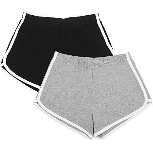 URATOT 2 Pack Cotton Sports Shorts Yoga Short Pants Summer Running Athletic Shorts Women Dance Gym Workout Elastic Waist Shorts (Black, Light Gray, L)