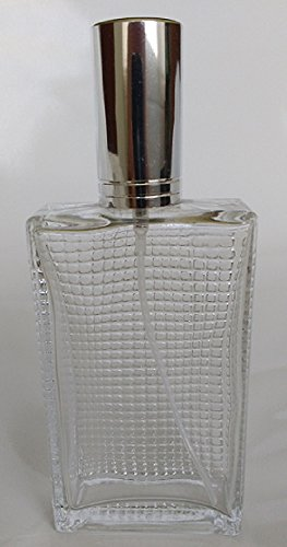 7 Degrees North 100 ml (3.4 oz) Large Clear Thick Glass Empty, Refillable Cologne/Perfume/Splash Replacement Spray Bottle Swarovski Crystal Face Design with Silver Fine Mist Atomizer