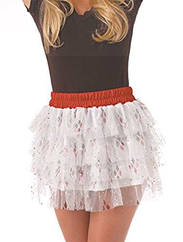 Secret Wishes DC Comics Justice League Superhero Style Adult Skirt with Sequins Harley Quinn, Red, One Size