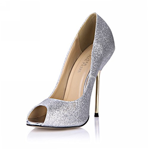 DolphinGirl Fashion Stiletto Pump D'Orsay Heels SM00190 Shiny High Silver Women Glitter Peep Toe CqxHwOFC