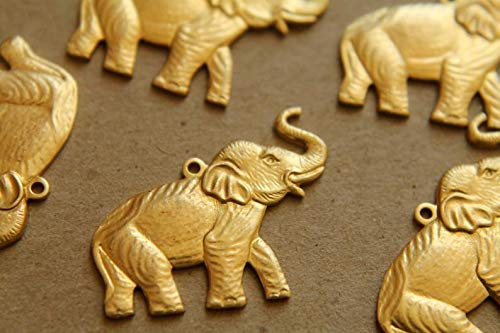 2 pc. Raw Brass Elephant Charms: 27mm by 21mm