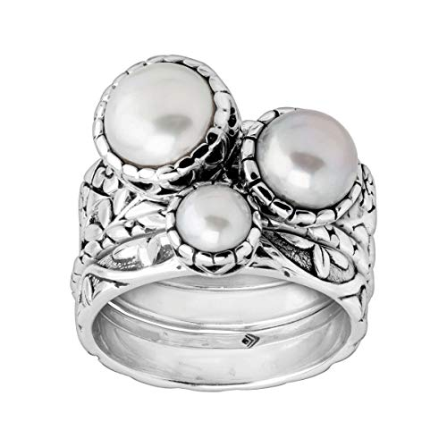 Silpada 'Isla' 5-8.5 mm Freshwater Cultured Pearl Stacking Rings in Sterling Silver Size 8