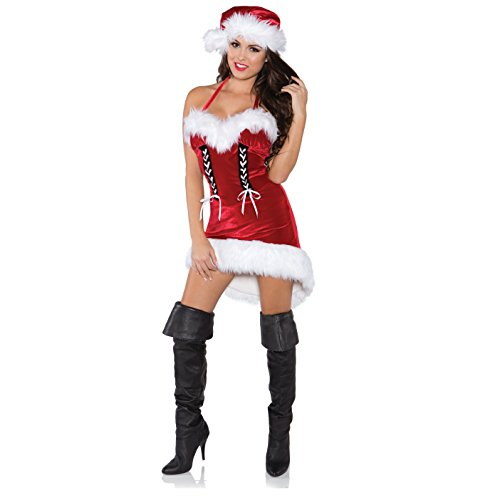 [Underwraps Costumes Women's Sexy Christmas Costume - Miss Santa, Red/White/Black, Large] (Miss Usa Costume)
