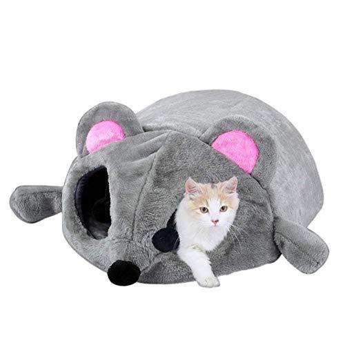 yanbirdfx Mouse Diseño Casa Cama Ojo Abierto Juguete Gato Gatito Pequeño Perro Conejo Invierno rodar Cálido, Gris, 1