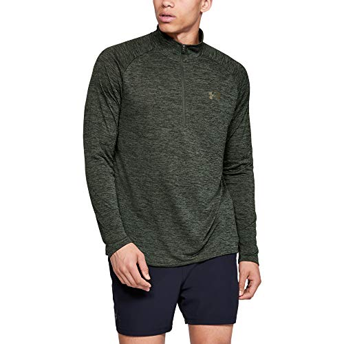 Under Armour mens Tech 2.0 1/2 Zip-Up, Baroque Green (310)/Outpost Green, Large