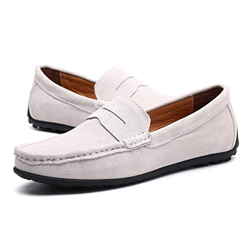6aa40bef9800a Mysky Popular Men Casual Solid Color Shallow Mouth Single Shoes Male Brief  Comfy Wild Canvas Upper Shoes Lazy Shoes White