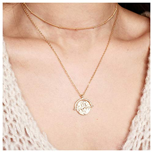 18k Gold Plated Medallion Necklace Coin Pendant Round Circle Disk Minimalist Jewelry for Women 20''