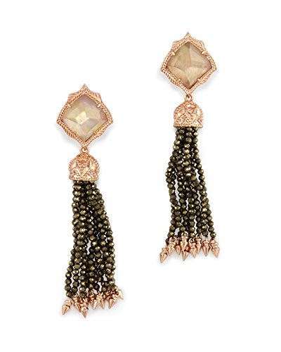 Kendra Scott Misha Clip On Earrings in Rose Gold Plated Dark Brown Mother of Pearl and Pyrite Beads by Kendra Scott
