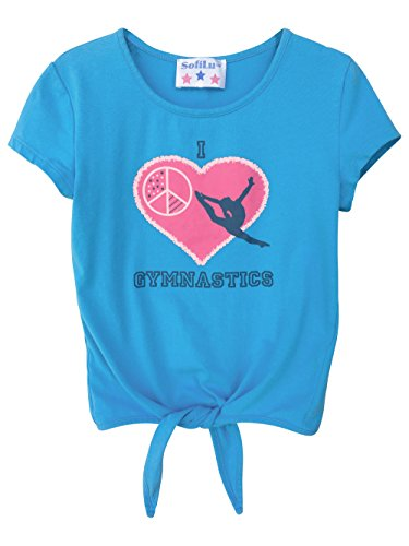 Girl Gymnastics T-Shirt Tie Front Top (S, Aqua)
