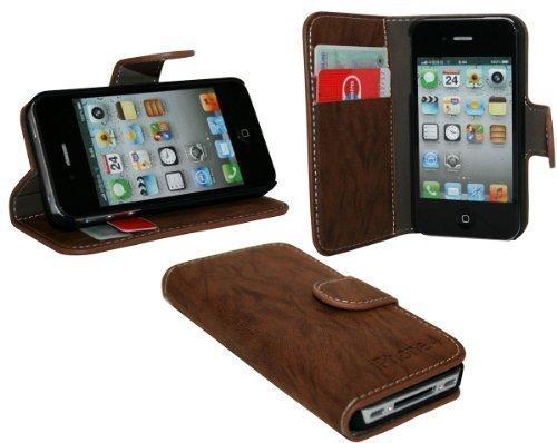 Iphone 4 / 4S Buchtasche Hülle Case Tasche Wallet BookStyle mit STANDFUNKTION in Braun @ Energmix