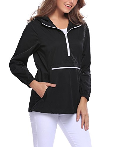 Easther Women's Rain Jacket Front Pocket Windproof Waterproof Hooded Pullover