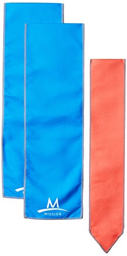Mission Cooling Accessories Multi-Pack with 1 Cooling Scarf/2 Cooling Wraps, Blue & Coral, One Size by Mission