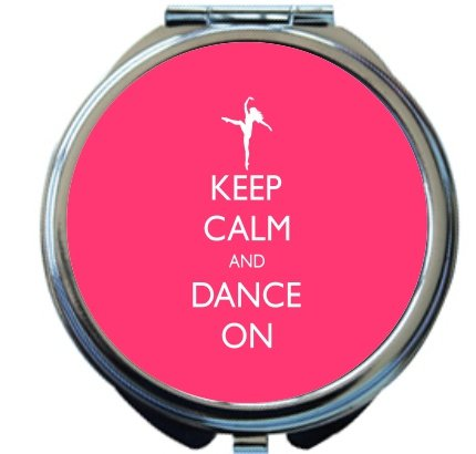 Rikki Knight Keep Calm and Dance On Tropical Pink Color Design Round Compact Mirror by Rikki Knight