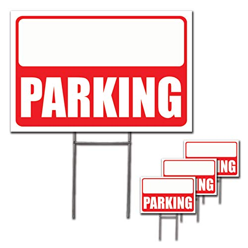 VSE- 12x18 Red Parking Sign H-Stakes Arrow - Parking Sign Blanks