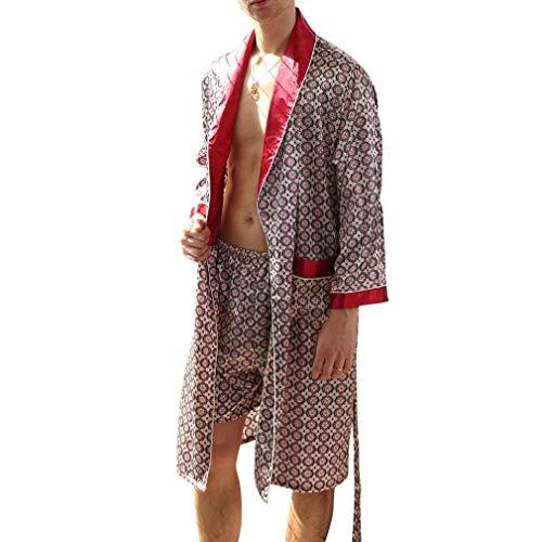 Uomo Premium Da Robe Stile Estate Seta Gonna Peso Semplice Camice Leggero Elegante Pigiama Roterkreis Accappatoio p5qwxZB