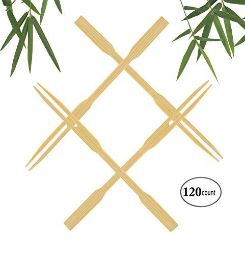 "ZERMU Bamboo Forks Disposable - 3.5"" Wooden Skewers Mini Fruit Roasting Sticks Forks Eco-Friendly Appetizer, Cocktail, Fruit, Pastry, Dessert (120Pcs)"