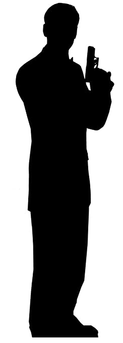 secret agent male james bond style single pack silhouette lifesize cardboard cutout