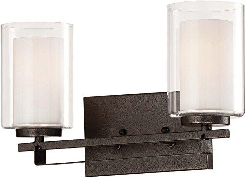 Minka Lavery Wall Light Fixtures 6102-172 Parsons Studio Glass Bath Vanity Lighting, 2 Light, Smoked Iron