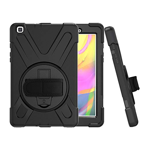 CCMAO Galaxy Tab A 8.0 Case 2019, SM-T290/T295 Case, [Hand Strap] 360 Degree Rotating Kickstand Full-Body Impact Resistant Cover for Samsung Galaxy Tab A 8.0 Inch 2019 (SM-T290 /SM-T295) (Black) (Galaxy Tab S 8-4 Cases And Covers)