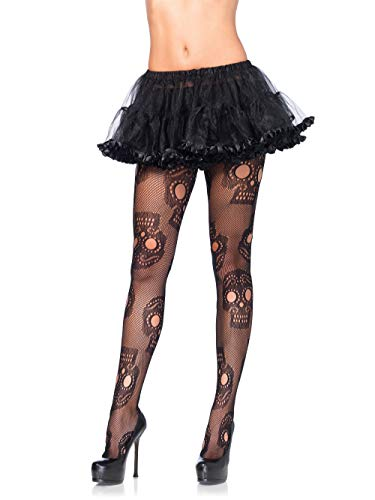 Leg Avenue Women's Hosiery, Black Sugar Skull, Plus Size