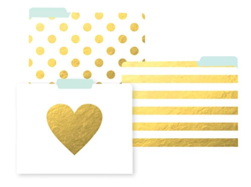 C.R. Gibson White And Gold Cute File Folders Chic ,11.5'' L x 9.5'' W, 9 File ()