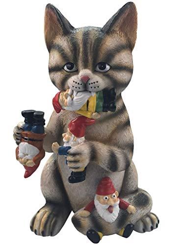 By Mark & Margot - Mischievous Cat Garden Gnome Statue Figurine - Best Art Décor for Indoor Outdoor Home Or Office (One Size, Mischievous Upside Down Gnome) (Mischievous Upside Down Gnome Brown)