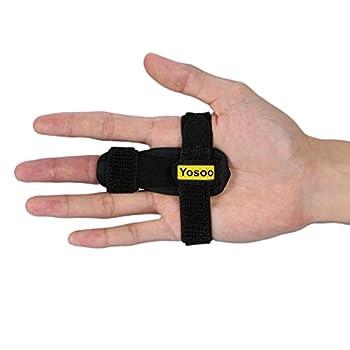 Yosoo Trigger Finger Splint, Adjustable Finger Brace with Hook&Loop Tape for Straightening Curved, Bent, Locked & Stenosing Tenosynovitis, Best Finger Splint for Tendon Release & Pain Relief